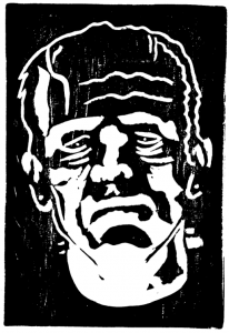 A woodchip portrait of Hollywood legend Boris Karloff as Frankenstein